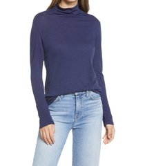 women's caslon funnel neck pullover, size medium - blue