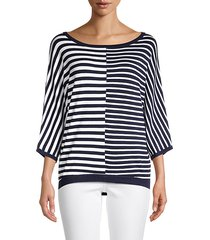 striped dolman-sleeve pullover