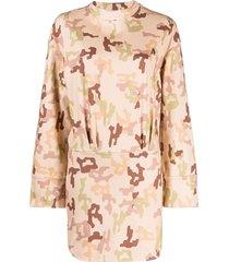 the attico camouflage-print cotton dress - neutrals