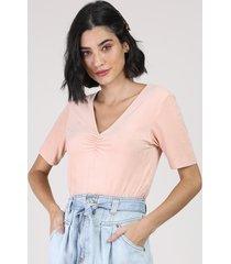 blusa feminina em suede manga curta com franzido decote v rosa claro