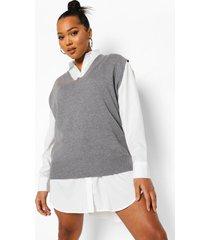 plus 2-in-1 oversized sweatshirt jurk, dark grey