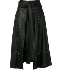 andrea bogosian piercing-embellished leather skirt - black