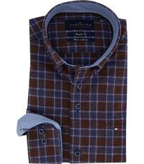 geruit overhemd blauw bruin portofino regular fit