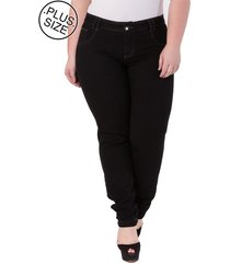 calça jeans cigarrete black denim plus size - confidencial extra preto