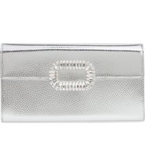 roger vivier crystal buckle metallic leather envelope clutch -