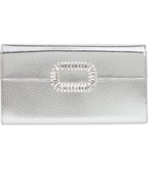 roger vivier crystal buckle metallic leather envelope clutch - metallic