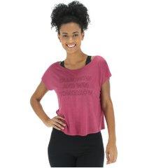 blusa cropped oxer win - feminina - rosa escuro