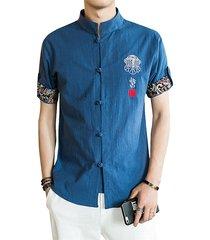 maniche corte con bottone cinese a maniche lunghe con stampa etnica, modello camicia per uomo