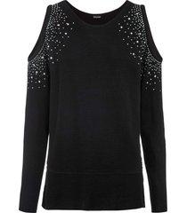 maglione monospalla con cut-out e strass (nero) - bodyflirt