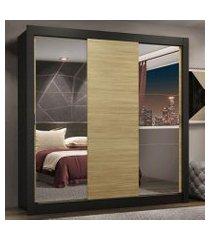 guarda-roupa casal madesa lyon plus 3 portas de correr com espelhos 4 gavetas preto/carvalho preto