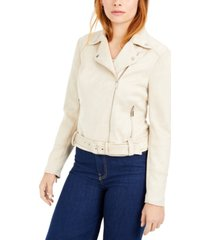 bar iii faux-suede zip-front moto jacket, created for macy's
