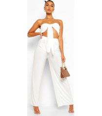 crop top met strik en wide leg broek set, ivory