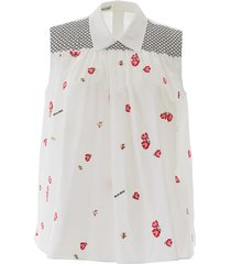 miu miu flower embroidery top