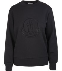 moncler woman black sweatshirt with maxi logo in strass