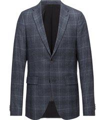 george flannel check blazer colbert blauw matinique