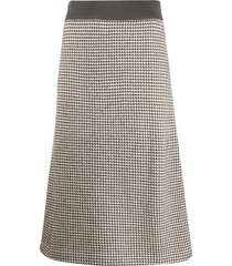 agnona houndstooth a-line knit skirt - brown