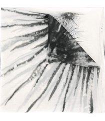 lenço panneaux olympiah de seda etampado ouriço branco e preto