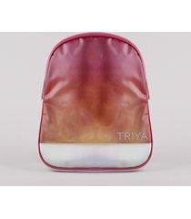 mochila infantil triya degradê com recorte holográfico rosa