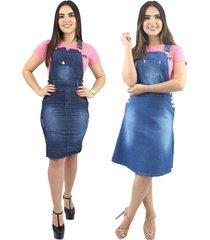 combo de 2 jardineiras jeans anagrom moda evangélica