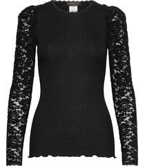 silk t-shirt regular ls w/ lace blus långärmad svart rosemunde