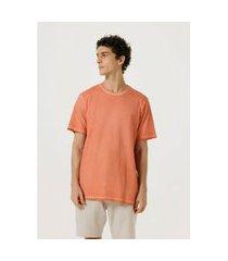 camiseta hering básica manga curta em malha de algodáo laranja