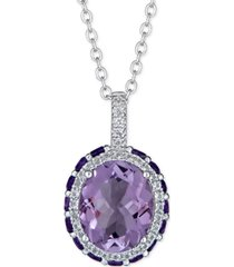"""multi-gemstone 18"""" pendant necklace (4-3/4 ct. t.w.) in sterling silver"""