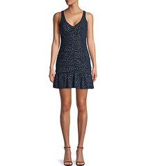shirred polka dot mini dress