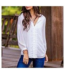 lace accent blouse, 'noble grace in eggshell' (thailand)