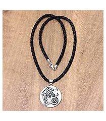 leather and bone pendant necklace, 'capricorn' (indonesia)