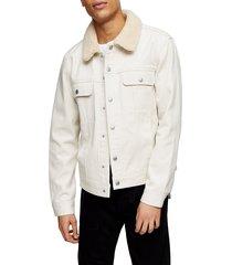 men's topman borg collar trucker jacket