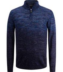 men's bugatchi merino wool blend quarter zip sweater, size small - blue