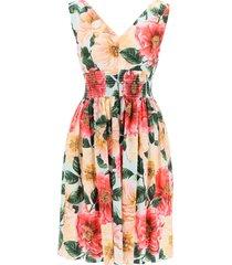 dolce & gabbana camellia print cotton midi dress