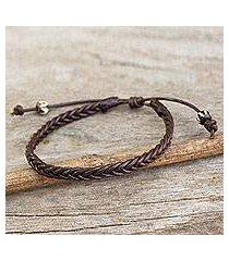 men's braided leather bracelet, 'single brown braid' (thailand)