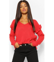 ruffle sleeve sweater, coral