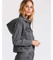 chaqueta denim gris  capucha