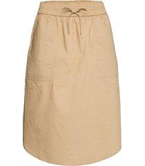 pull-on skirt in poplin knälång kjol beige gap