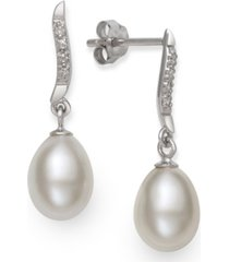 cultured freshwater pearl (7-8 mm) and diamond accent swirl earring in sterling silver