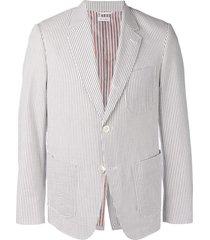 thom browne patch pocket seersucker sport coat - grey