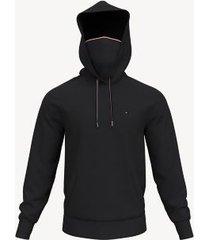 tommy hilfiger men's essential face mask hoodie jet black - m