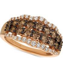 le vian chocolatier chocolate diamond & vanilla diamonds statement ring (1-1/2 ct. t.w.) in 14k rose gold