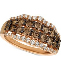 le vian chocolatier chocolate diamond & vanilla diamonds statement ring (1-1/2 ct. t.w.) in 14k rose gold