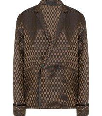 haider ackermann square pattern oversized blazer - brown