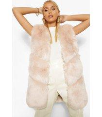 luxe faux fur bodywarmer met panelen, zand