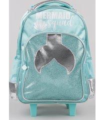mochila escolar infantil mermaid com rodinhas verde