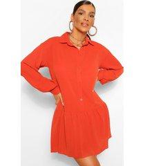 blouse jurk met geplooide zoom, roest