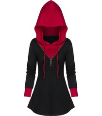 zippered two tone tunic hoodie