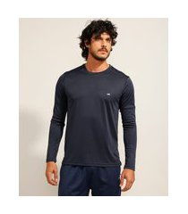 camiseta esportiva ace manga longa gola careca com proteção uv 50+ azul marinho