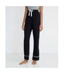 calça de pijama em viscolycra com detalhe contrastante na barra | lov | preto | m