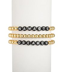 the luxe namaste & dreamer 18k goldplated alphabet bead bracelet