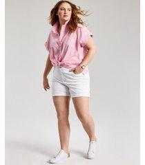 tommy hilfiger plus size cotton cuffed shirt